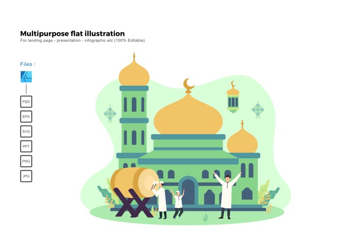 Flat illustration happy ied mubarak 2020 1441H