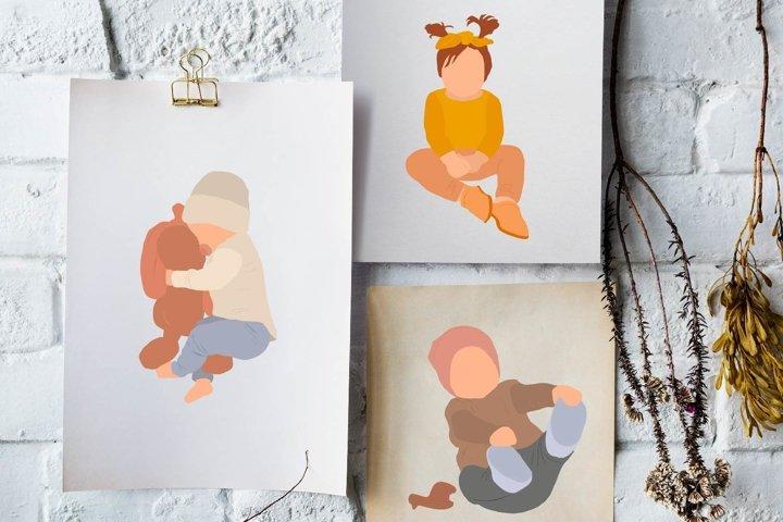 15 digital abstract illustrations of children