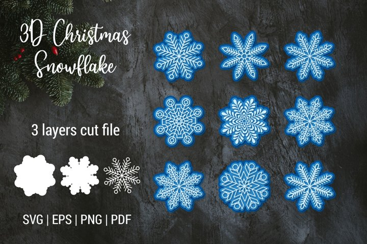 3D Christmas Snowflake SVG | 3D Layered Snowflake ornaments