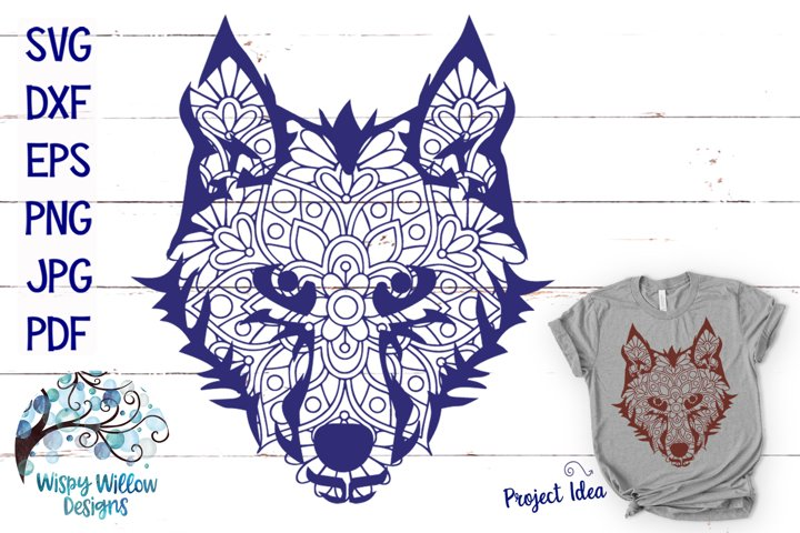 Wolf Face Mandala | Animal Mandala SVG - Free Design of The Week Font