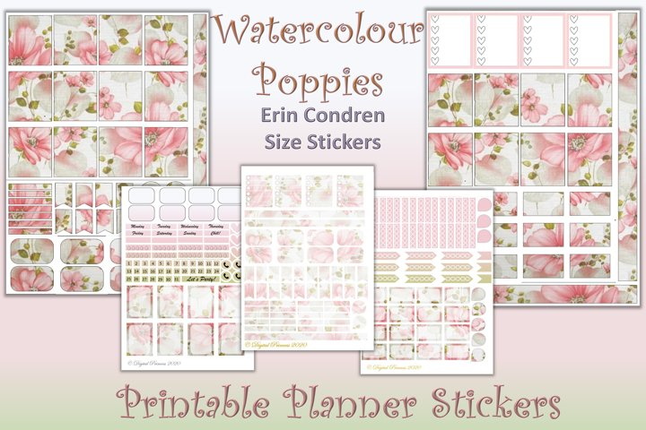 Planner Stickers Watercolour Poppies 5 Sheets 200 stickers