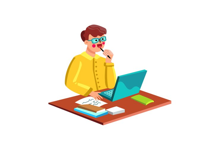 Writer Man Working At Desk With Laptop Vector