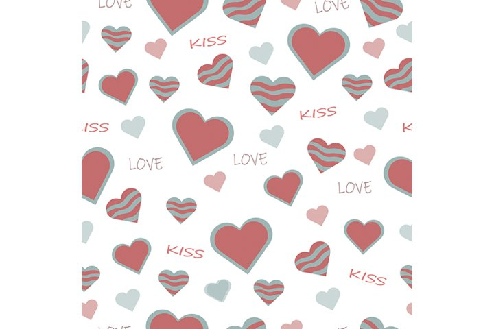 beautiful cute seamless pattern with pink heart shapes