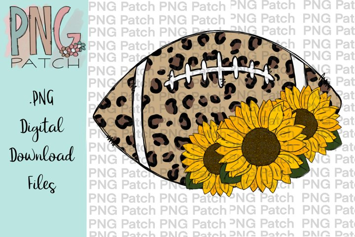 Leopard Print Football with Sunflower, Football PNG File