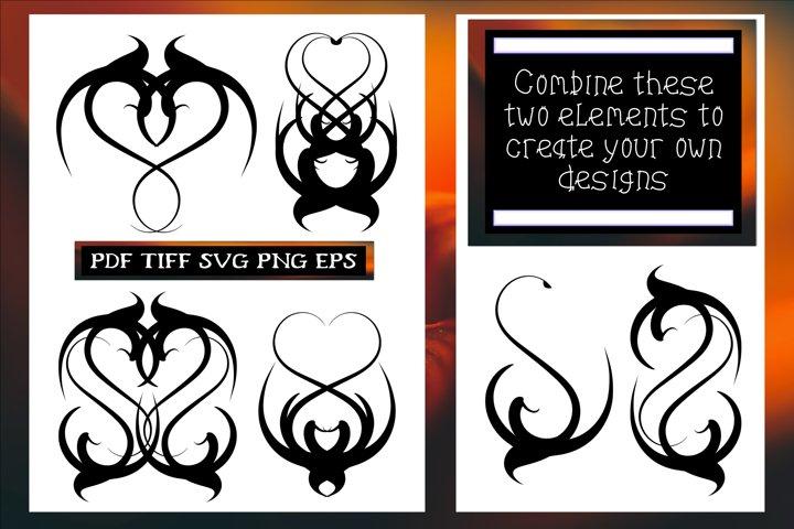 Gothic Hearts 2 SVG Cut Files Bundle