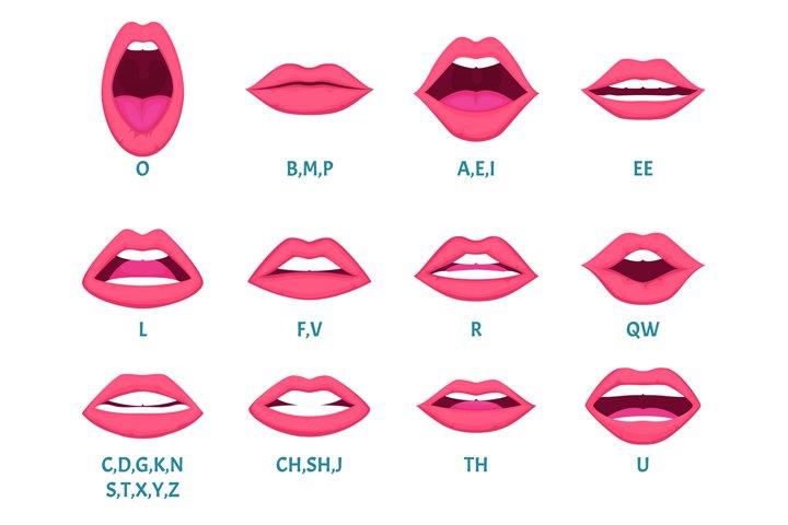 Female mouth animation. Sexy lips speak sounds pronunciation