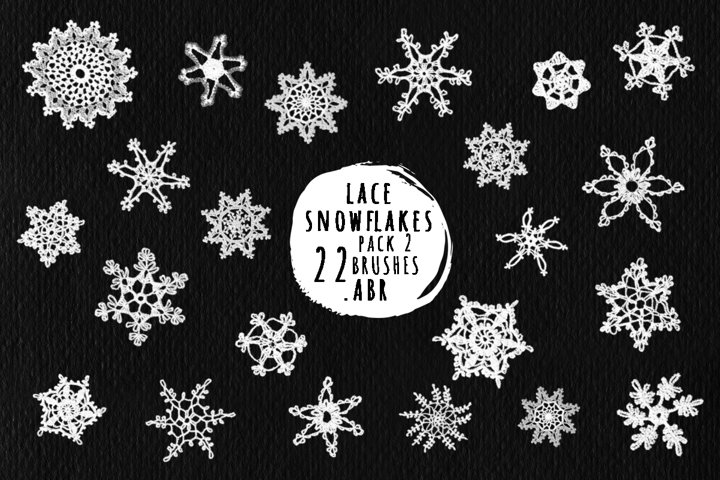 Lace snowflakes brushes for Photoshop, ProCreate .ABR Pack 2