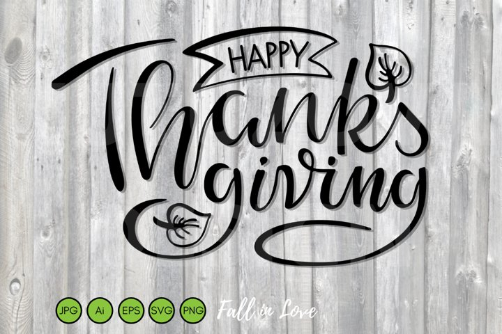 Happy Thanksgiving SVG Sign. Fall Harvest Festival Template.