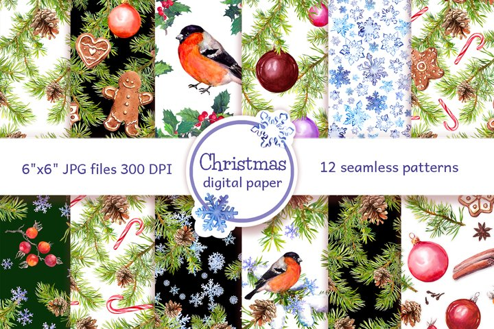 Christmas digital paper pack. Watercolor seamless patterns