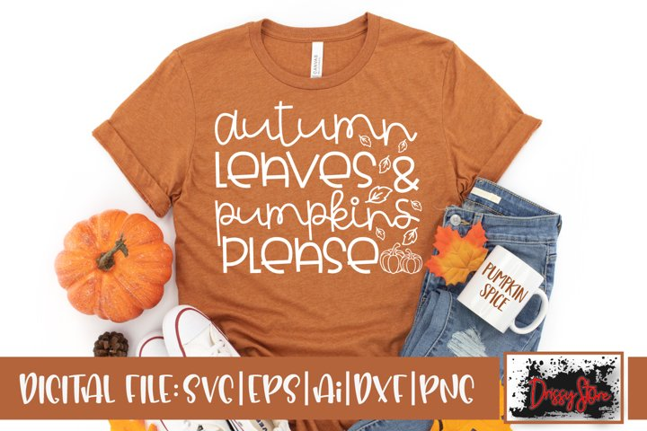 Autumn Leaves and Pumpkins Please SVG DXF Ai EPS PNG