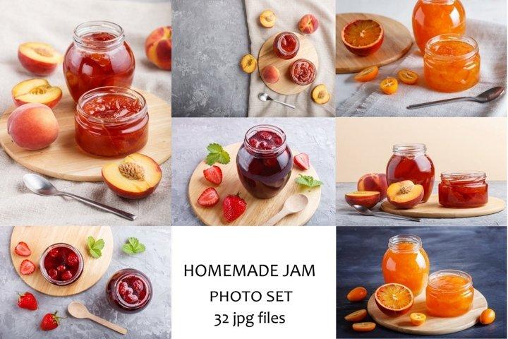 A bundle of 32 fruit jam photos.