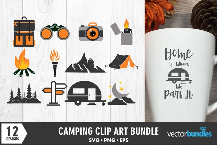 Camping clip art bundle of 12 designs. Cut file for crafters