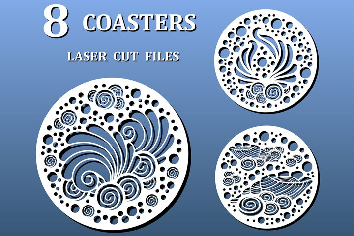 Laser cut coasters with nautical pattern. Cnc cut files