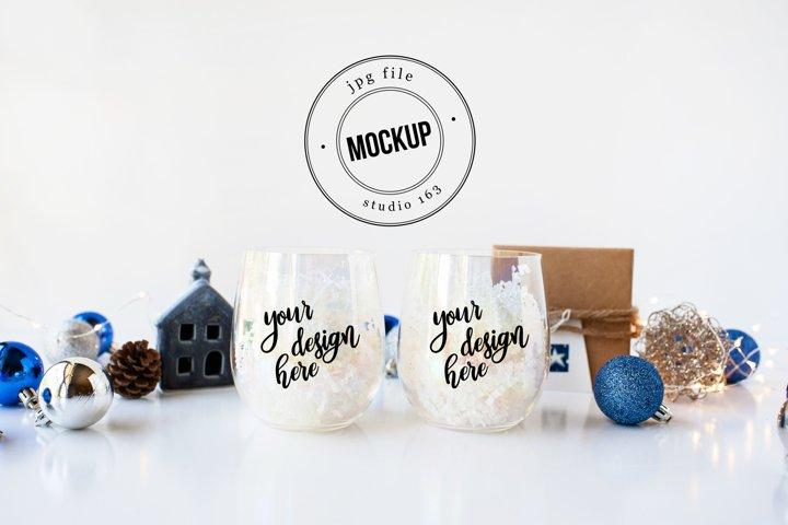 Wine Glass Tumbler Mockup | Christmas Blue Silver | JPG