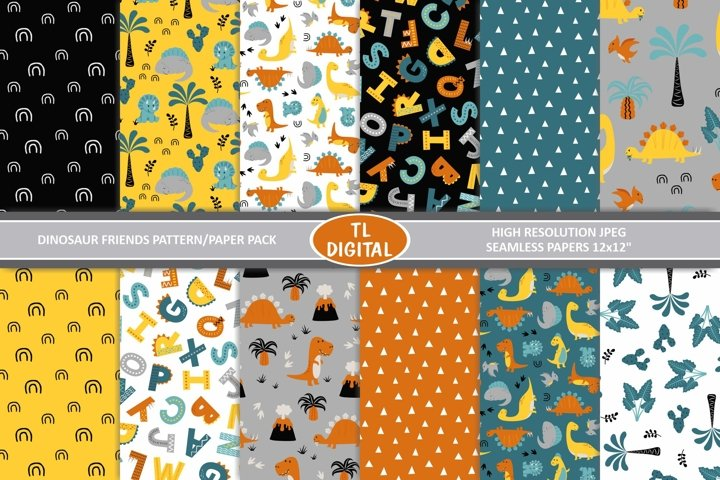 Dinosaur Patterns / Digital Papers - JPEG - 12x12inches