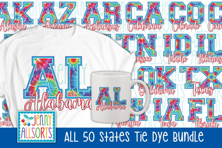 All 50 States Sublimation Bundle, Tie Dye USA State Letters