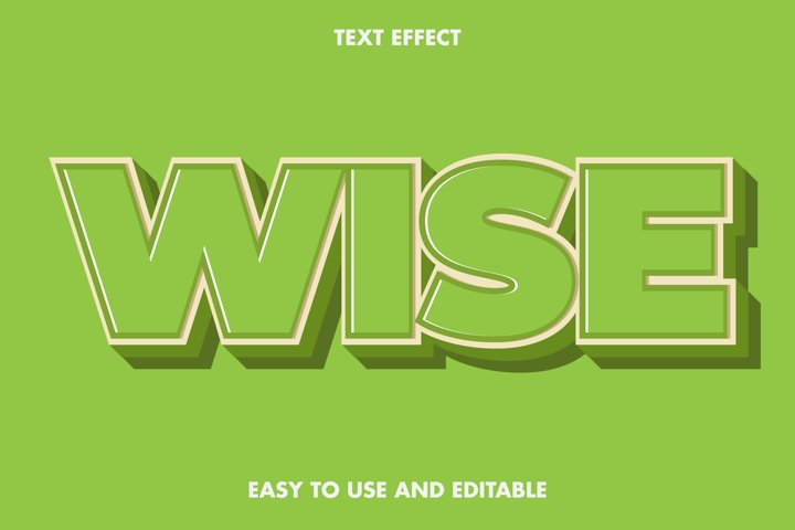 Wise text effect. editable and easy to use. premium vector
