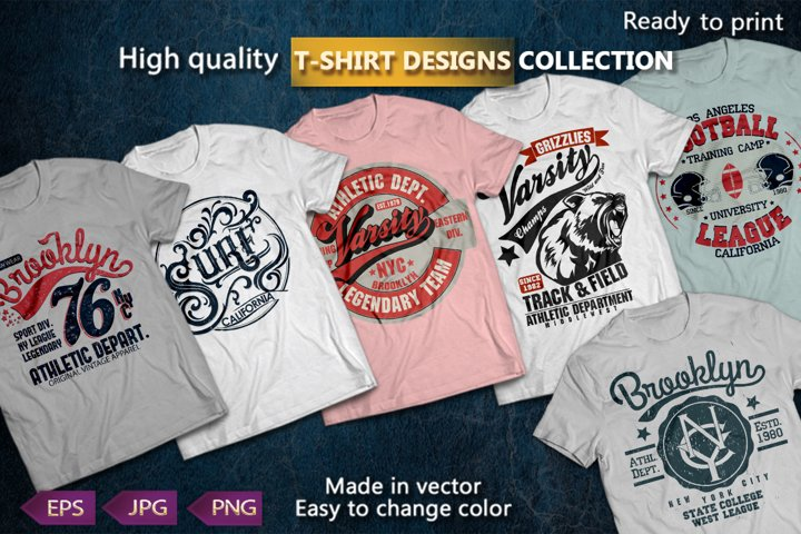 T-shirts graphics design. Varsity and Surf Sport Typography