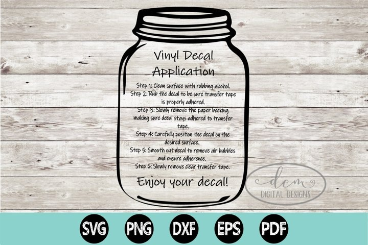 Vinyl Decal Application Instructions printable PNG SVG file