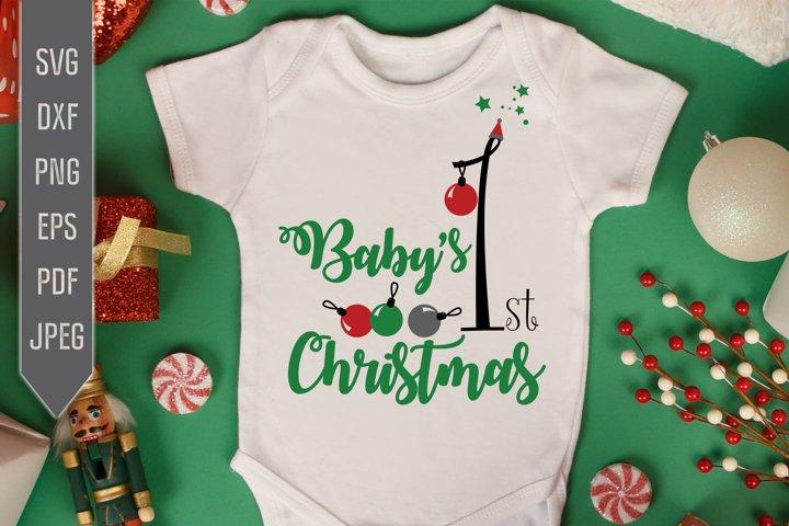 Babys First Christmas Svg. Christmas Baby Bib Svg.