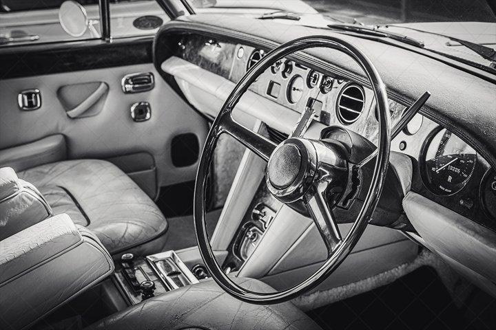 Vintage Old Car Interior Black and White