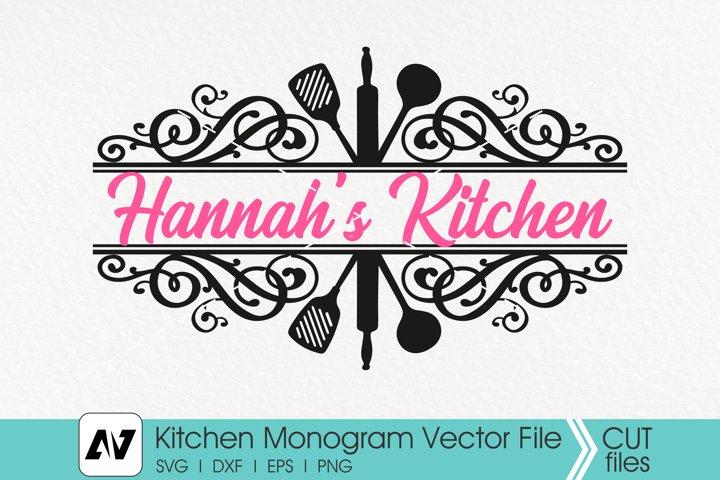 Kitchen Svg, Kitchen Monogram Svg, Kitchen Utensils Svg