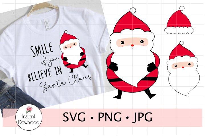Santa SVG, Santa Claus Clipart, Santa Head
