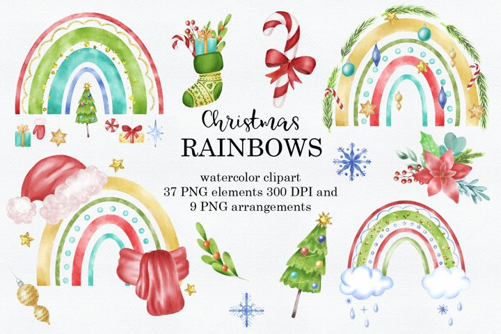 Rainbow Christmas Watercolor Clipart