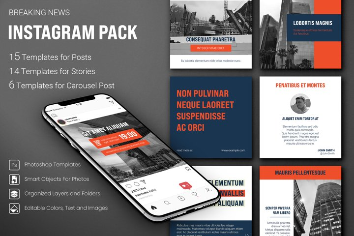 Color Block Instagram Templates Pack. Post, Story, Carousel