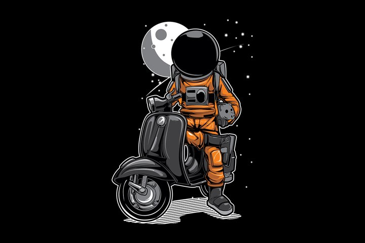 Astronaut Scooter Space Moon Mascot Illustration