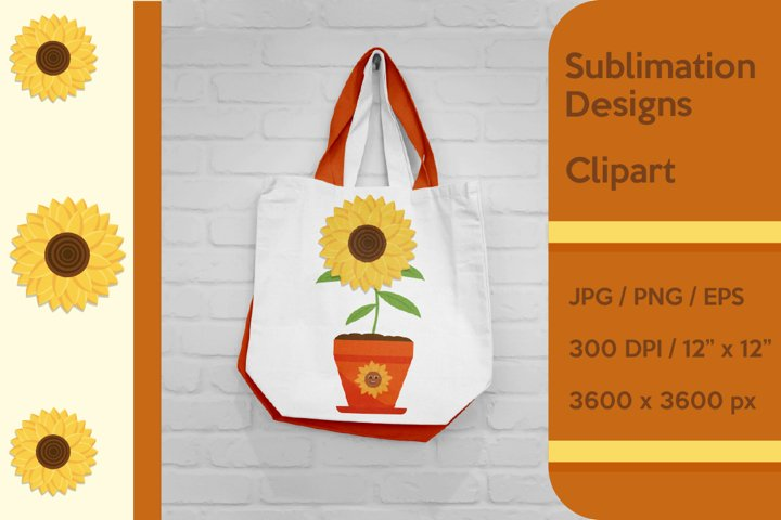 Sunflower in the pot Sublimation and Clipart.