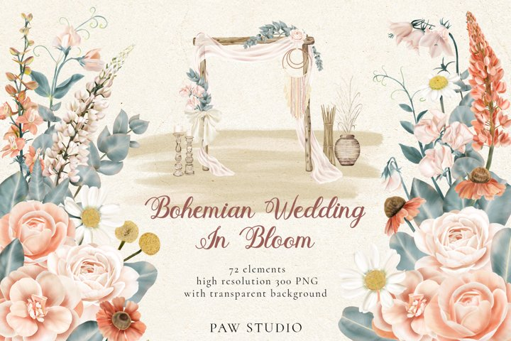 Bohemian Wedding Decor Flowers Leaves Clipart