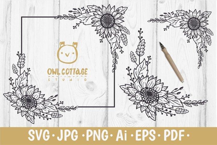 Sunflower Decor svg, Decorative Floral SVG Corners and Frame