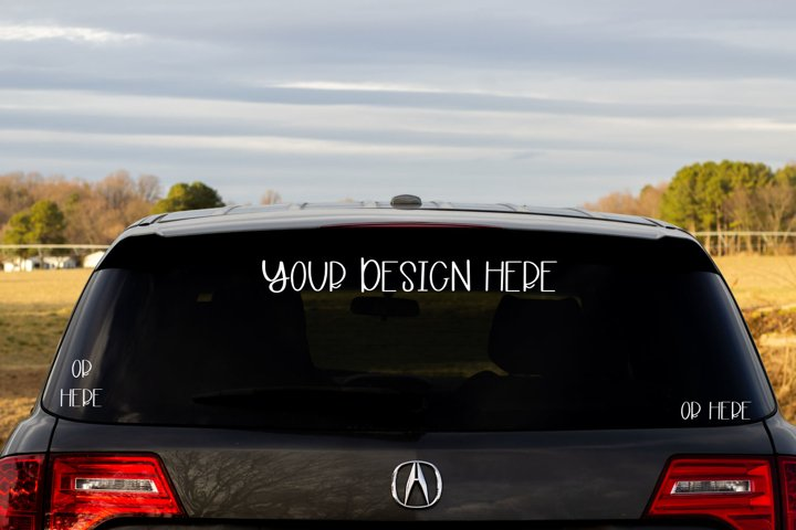 Rear Window Car Mock Up - 3 Places For Your Design!