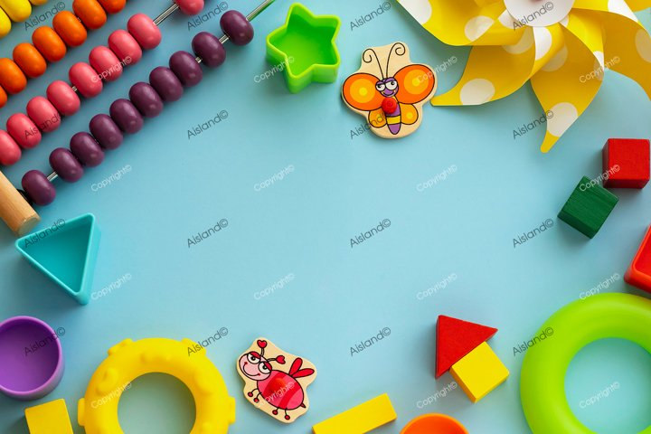Top view on childrens educational games