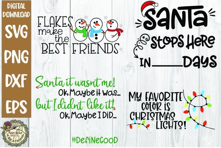 Christmas Winter Bundle SVG-Snowmen-Santa-Christmas Lights