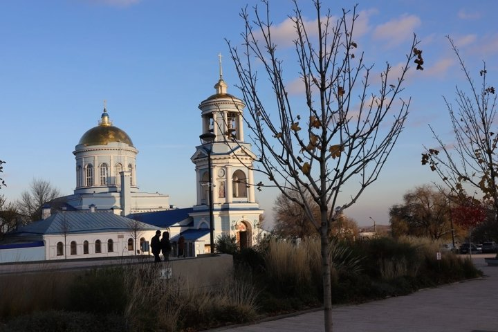 View of the Orthodox Church in the autumn evening