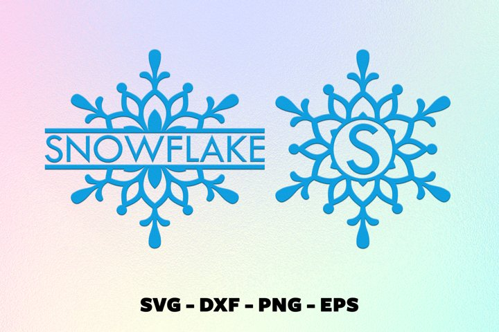 Christmas snowflake monorgam frame svg