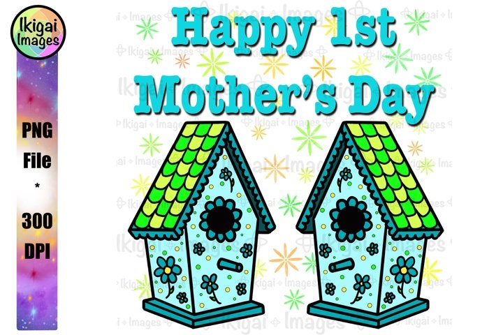 1st Mothers Day Bird Houses, New Mom, Blue Boy Mom PNG File