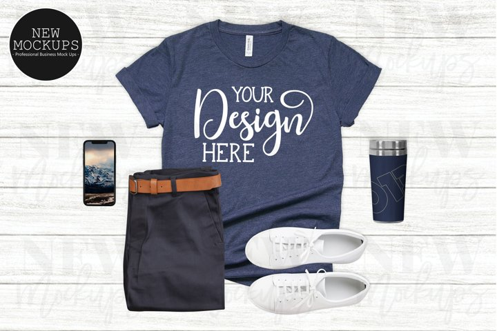 Bella Canvas 3001 Heather Navy Blue T-Shirt Mockup
