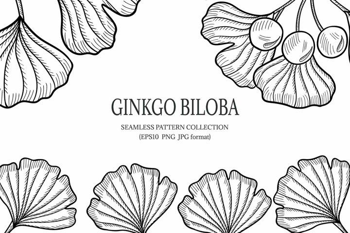 Ginkgo Biloba, seamless pattern, set