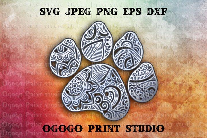 3D Layered Dog Paw Mandala Svg, Zentangle SVG, Pet lover Svg