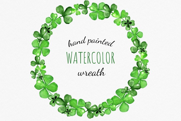 Watercolor Clover and Shamrock Wreath