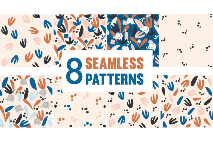 8 Floral and abstract seamless vector patterns