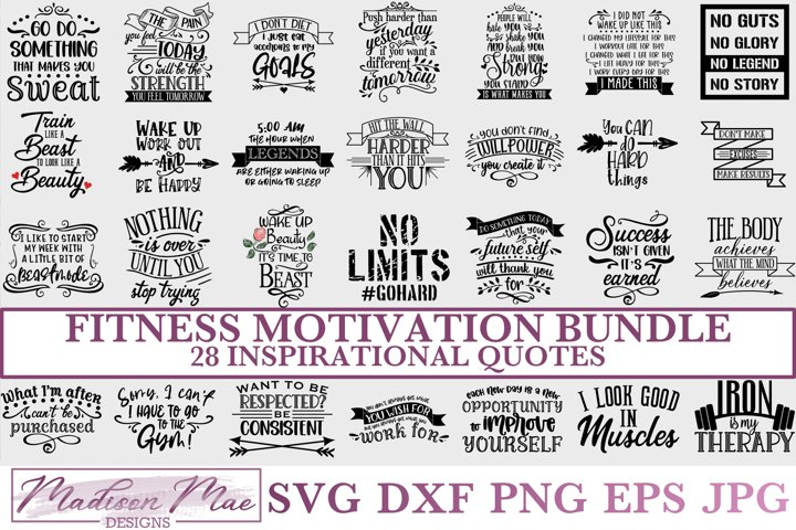 Fitness Motivation SVG Bundle - 28 Inspirational Quotes