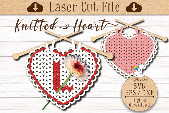SVG Knitted Heart Laser Cut file, Valentines Day Decoration