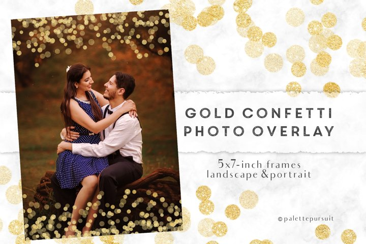 Gold confetti frames, photo overlay, New Year Christmas