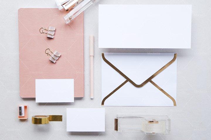 Corporate Stationery Mockup - Business Card - Blush