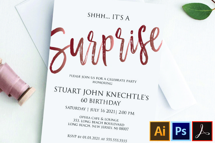 Rose Gold ANY AGE Shhh its A Surprise Invitation Template