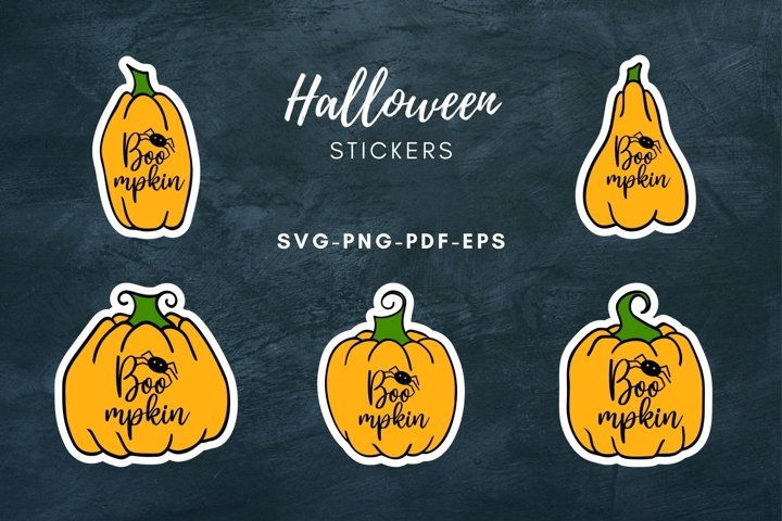 Halloween Boo Stickers|Pumpkin Print & Cut Stickers|SVG|PNG